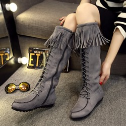 Fringe Cross Strap Round Toe Knee High Boots
