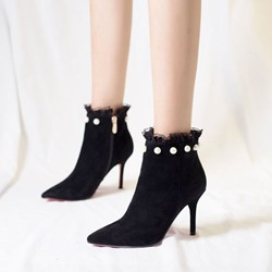 Black Beads Lace Pointed Toe Ankle Boots