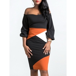 Shoespie Office Lady Color Block Women's Bodycon Dress