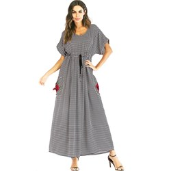 Shoespie Embroidery Lace-Up Print Women's Maxi Dress