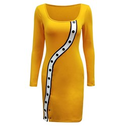 Shoespie Patchwork Button Elegant Women's Bodycon Dress