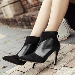 Black Back Zip Pointed Toe Fashion Ankle Boots