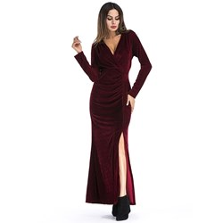 Pleuche Plain Elegant Women's Maxi Dress