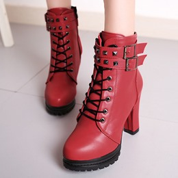 Shoespie Rivet Lace-Up Buckle Ankle Boots