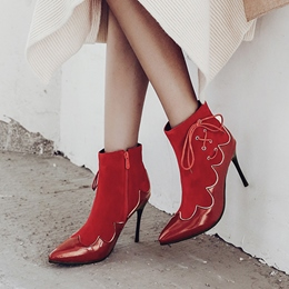 Cross Strap Side Zipper Pointed Toe Ankle Boots