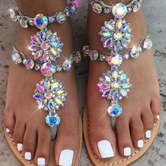 Rhinestone Buckle Thong Slide Sandals