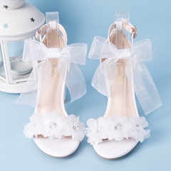 Appliques Bow Rhinestone Wedding High Heels