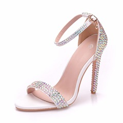 Rhinestone White Stiletto Bridal Shoes