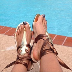 Lace-Up Thong Strappy Slipper
