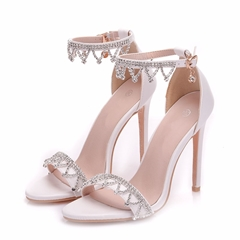 Shoespie White Rhinestone Stiletto Heels
