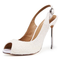 Beads Slingback Buckle White Stiletto Heels