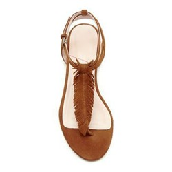 Brown Buckle Strappy Slide Sandals