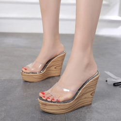 Shoespie Jelly Platform Wedge Sandals
