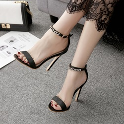 Black Open Toe Buckle Stiletto Heels