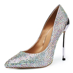 Silver Rhinestone Pointed Toe Stiletto Heels