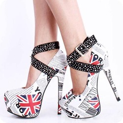 Rivet Platform Buckle Stiletto Heels