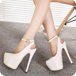 White Platform Line-Style Buckle Stiletto Heel Sandals