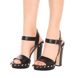 Black Rivet Ankle Strap Buckle High Heels