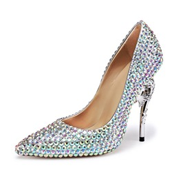 Rhinestone Pointed Toe Silver Stiletto Heels