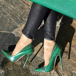 Green Serpentine Pointed Toe Stiletto Heels