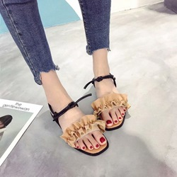 Ruffles Lace-Up Flat Sandals