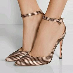 Golden Pointed Toe Line-Style Buckle Stiletto Heels