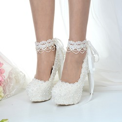 Shoespie Sexy White Stiletto Heel Lace-Up Beads Wedding Bridal Shoes