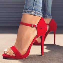 Suede Buckle Open Toe Stiletto Heels