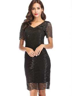 Shoespie Hollow V-Neck Pullover Women's Bodycon Dress
