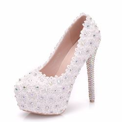 Shoespie Stylish Slip-On Round Toe Stiletto Heel Wedding Bridal Shoes