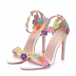 Appliques Line-Style Buckle Stiletto Bridal Shoes