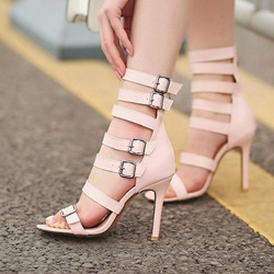 Buckle Zipper Open Toe High Upper Stiletto Heels