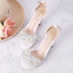 White Bow Rhinestone High Heels