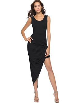 Shoespie Pullover Plain Pleated Women's Bodycon Dress