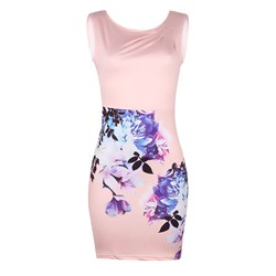Shoespie Sleeveless Floral Women's Bodycon Dress