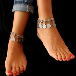 Vintage Metal Coin Shape E-Plating Anklets