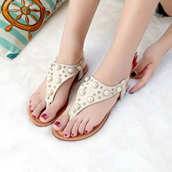 Beads Rhinestone Thong Flat Sandals