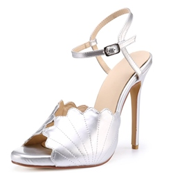 Silver Ankle Strap Buckle Stiletto Heels