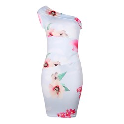 Shoespie One-Shoulder Print Floral Women's Bodycon Dress