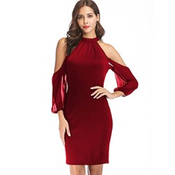 Shoespie Red Patchwork Women's Bodycon Dress