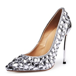 Rhinestone Silver Pointed Toe Stiletto Heels