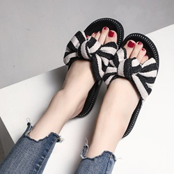 Black Bow Slip-On Flat Sandals