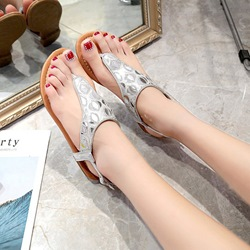 Rhinestone Buckle Thong Flat Sandals