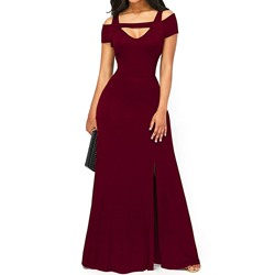Shoespie Off-The-Shoulder Split Women's Maxi Dress