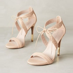 Light Apricot Lace-Up Open Toe Stiletto Sandals