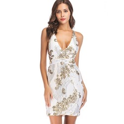 Shoespie Backless V Neck Sequins Women's Bodycon Dress