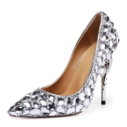 Silver Rhinestone Stiletto Bridal Shoes