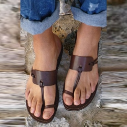 Brown Toe Ring Slip-On Slipper