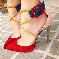 Cute Pointed Toe Buckle Suede Stiletto Heels