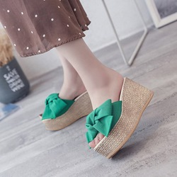 Bow Platform Slip-On Wedge Sandals